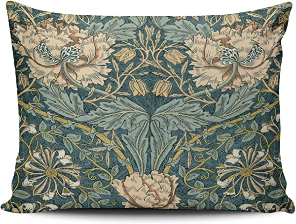 KAQIU Home Decoration Pillowcase Teal Vintage Tulips By William Morris Custom Boudoir Size 12x16 Inch Throw Pillow Cover Hidden Zipper Chic Personality Rectangular One Sided Printed Design
