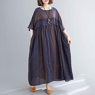 Moochy Vestido feminino vintage de linho de algodão com estampa listrada O pescoço, meia manga, bolso solto vestido casual