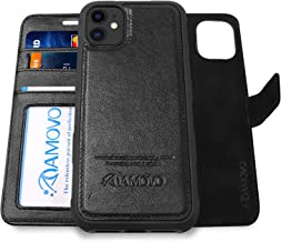 AMOVO Leather Case for iPhone 11 (6.1'') [Genuine Leather] iPhone 11 Wallet Case Detachable [2 in 1 Folio] [Wristlet] iPho...