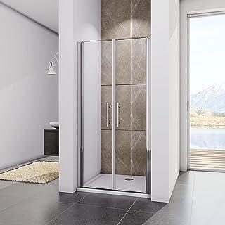 100x195cm Mamparas de Ducha Abatibles Cristal Templado de 6mm ANTICAL Perfil Aluminio, Puertas de Ducha