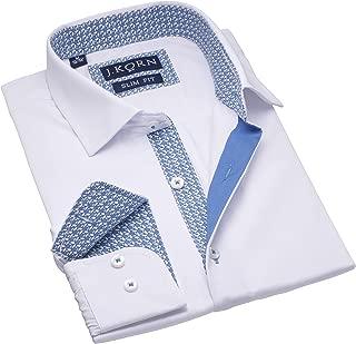 Men's White Dress Shirt Inner Contrast Long Sleeve Men's Shirt Slim Fit White Shirt Soft Cotton Blend