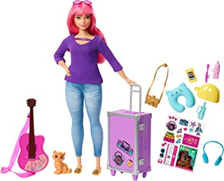 Barbie Daisy Doll, Pink Hair, Curvy, with Kitten, Guitar, Opening Suitcase, Stickers and 9 Accessories, for 3 to 7 Year Ol...