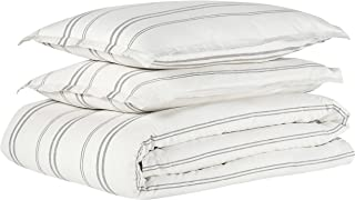 Rivet Maxwell Washed Stripe Duvet Cover Set, Full or Queen, White with Grey Stripe