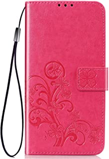 Flower Wallet case Compatible with Apple iPhone 11 PRO 5.8 inch Cell Phone, [Emboss Flower] PU Flip Wallet Leather [Kickstand] Magnetic Protective Cover with Card Slots,Detachable Wrist Strap-Rose