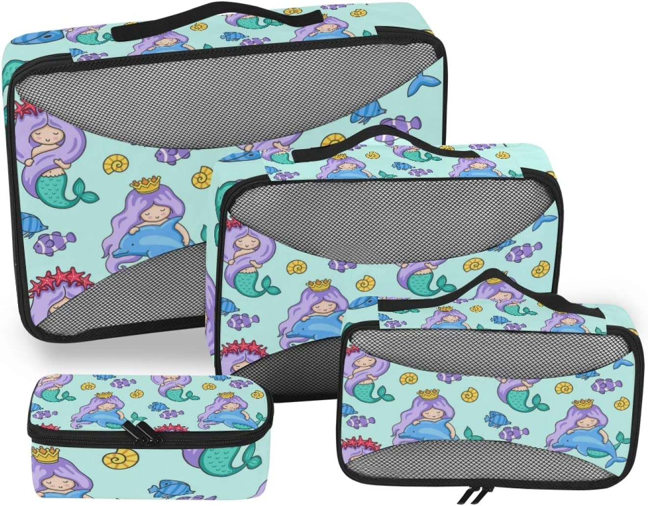 Mermaid Packing Cubes 4-Pcs Accessories Organizer Storage Soldering Our shop most popular Travel