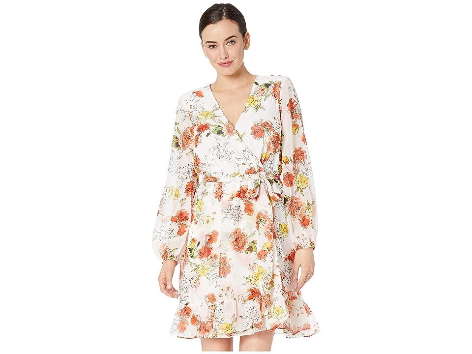 Nine West Long Sleeve Faux Wrap Dress w/ Ruffle Hem (Ivory/Papaya Multi) Women