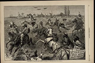 Fox Hunting Incompetence Mayhem Racism Stereotype 1879 antique engraved print