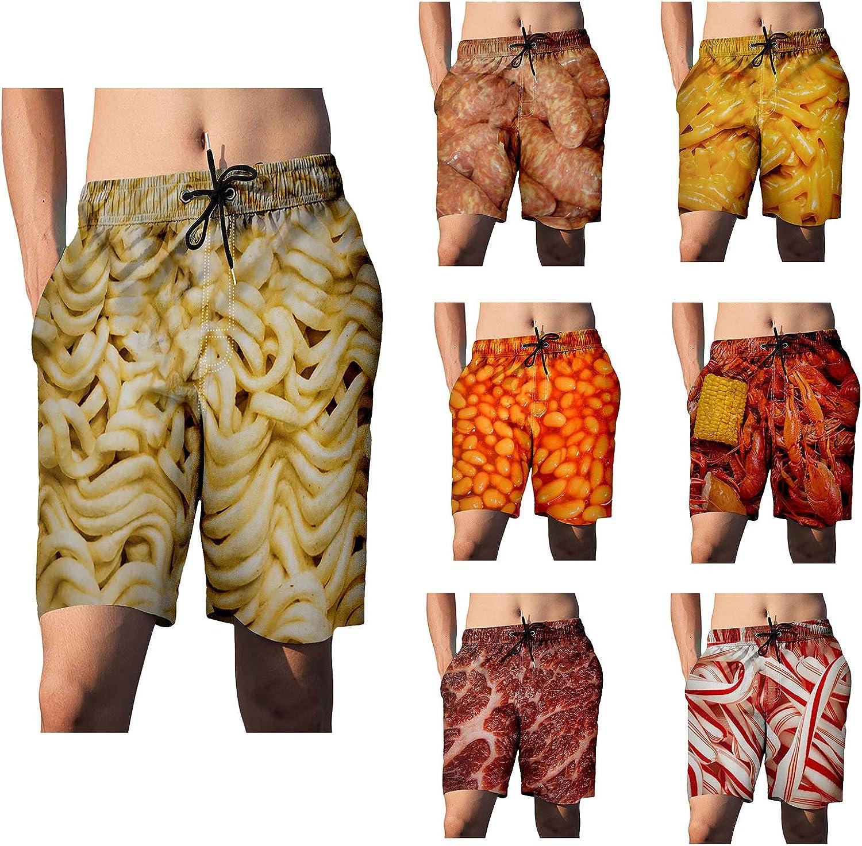 Mens 3D Food Print Beach Shorts with Pocket Novelty Drawstring Elastic Swim Trunk Graphic Board Shorts Plus Size S-5XL