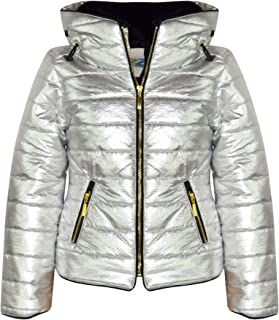 Kids Girls Jacket Metallic Foil Quilted Padded Puffer Bubble Fur Colar Warm Coat