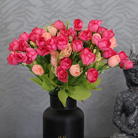TIED RIBBONS Artificial Peonies Flower Bunches (Set of 2, Pink) for Vase Pot Living Room Indoor Side Table Centerpiece Home Décor Wedding Decoration Party Events Gift (Pot Not Included)