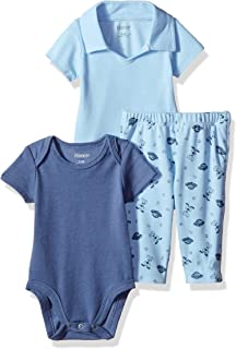 Hanes Ultimate Baby Zippin Pants with Short Sleeve Crew and Polo Bodysuit Set