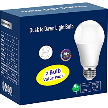Torkase 12W Dusk to Dawn Light Bulbs- No Timer Required, 1000lm(100W Equivalent), 6000K Daylight, E26 A19 Automatic Sensor LED Bulbs, Built-in Photocell Detector for Boundary,Garage,Patio, 2-Pack