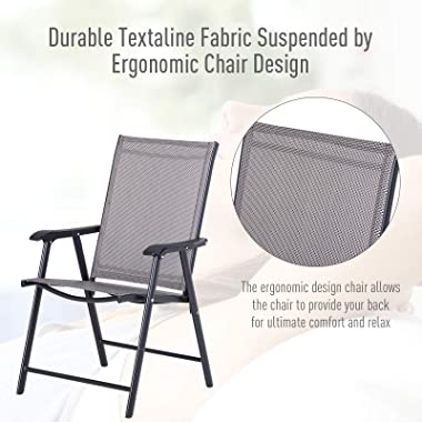 Outsunny Folding Outdoor Patio Chairs Set of 2 Stackable Portable for Deck, Garden, Camping and Travel
