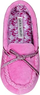 Laura Ashley Kids Girls Fleece Glitter and Bow Moccasins Floral Pink (See Sizes)