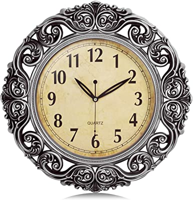 Bestime 13 Inch Vintage Wooden Wall Clock With Pendulum Look Grace Classic And Vintage Battery Operated Non Ticking Quartz Large Round For Living Room Office Home Decor Gift Home Kitchen