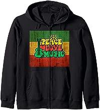 Rasta Reggae Peace & Love & Music for Rastafari Lover Zip Hoodie