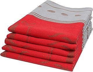 ZOLLNER Set de 5 paños de Cocina de algodón, 50x70 cm, Rojo