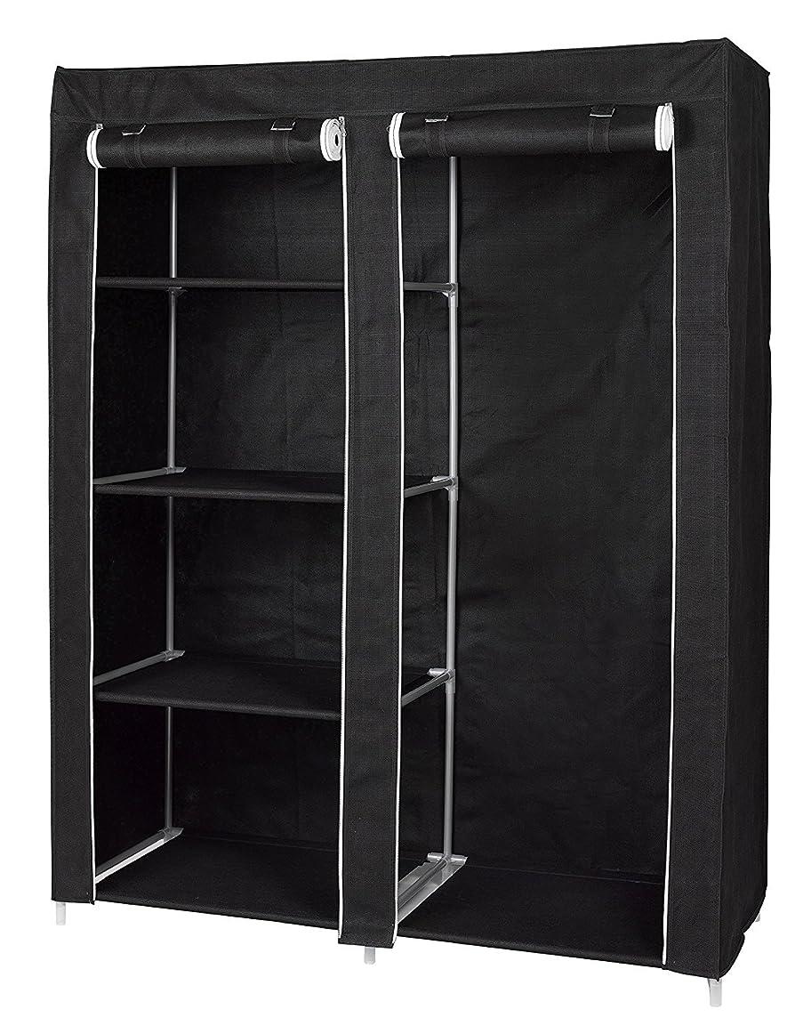 自転車前再編成するFloridaBrands Large Portable Wardrobe Closet Organizer with Dual Storage, 4 Shelves and Hanging, 62 H X 48 W X 20 D, Black by FloridaBrands