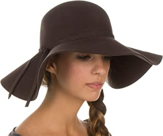 Womens 100% Wool Wide Brim Foldable Floppy Hat