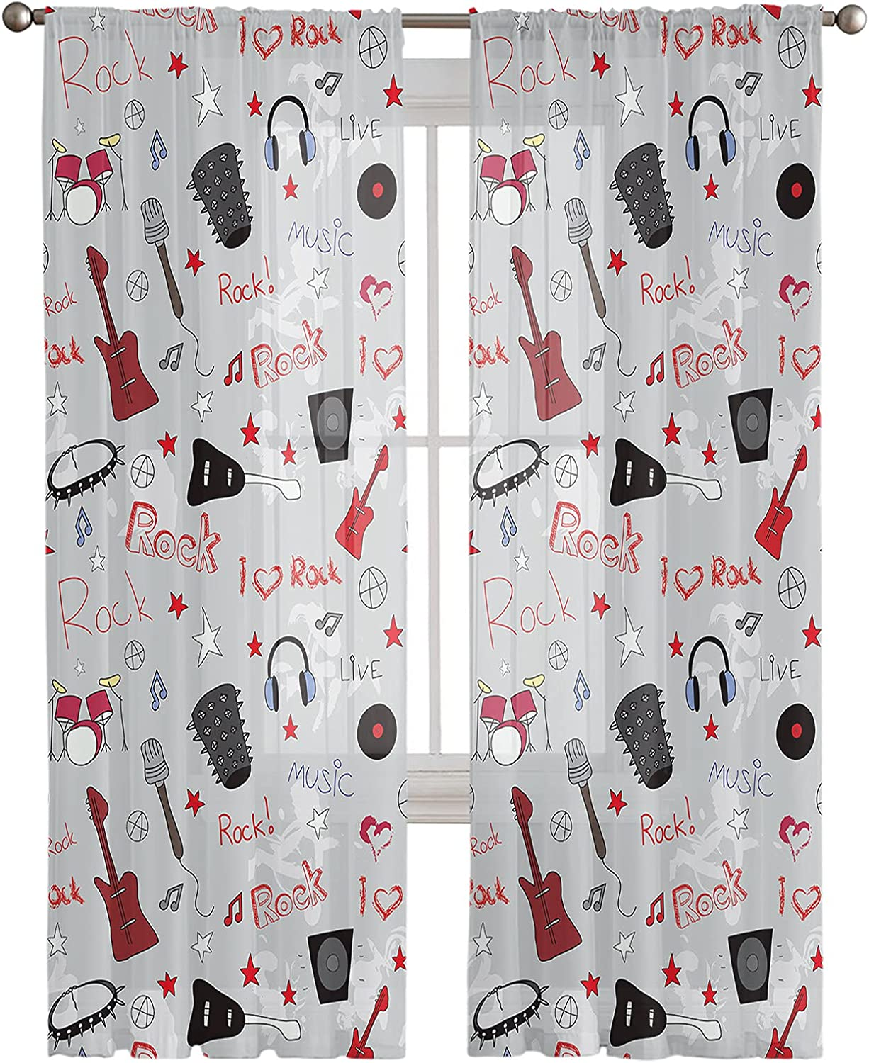 Rod Max 64% OFF Pocket Semi Sheer Curtains Retro and Rock Symbol Ultra-Cheap Deals Letter Roll