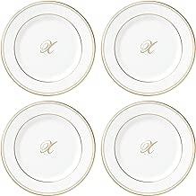 Lenox Federal Gold Script Monogram Dinnerware Tidbit Plates, Set of 4, X