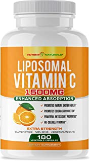 Sponsored Ad - Liposomal Vitamin C 1500mg 180 Vegan Capsules by POTENT NATURALS - Fat Soluble Vitamin C, High Absorption, ...