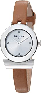 Salvatore Ferragamo Women's GANCINO Bracelet Stainless Steel Swiss-Quartz Watch with Leather Calfskin Strap, Brown, 8.2 (Model: F43010017)