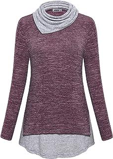 MOQIVGI Womens Pullover Sweatshirts Long Sleeve Cowl Neck Colorblock Casual Tunic Tops