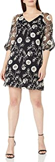 Julian Taylor Women's Floral Printed Lace 3/4 Puf Sleeve Shift Dress