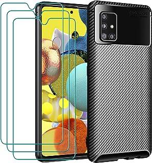 ivoler fodral till Samsung Galaxy A51 5G + 3-pack skärmskydd i härdat glas, kolfiber design stötdämpande stötskydd, smal m...