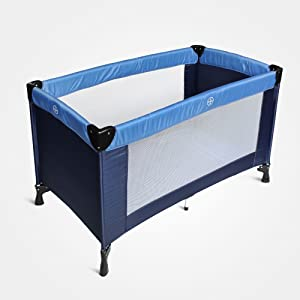 Domaier Portable Baby Bed  Baby Play Yard  standard  49 2 25 6 29 9 inch  Sky blue Marine Blue  Deployed size  125 cm  Material  Nylon fabric