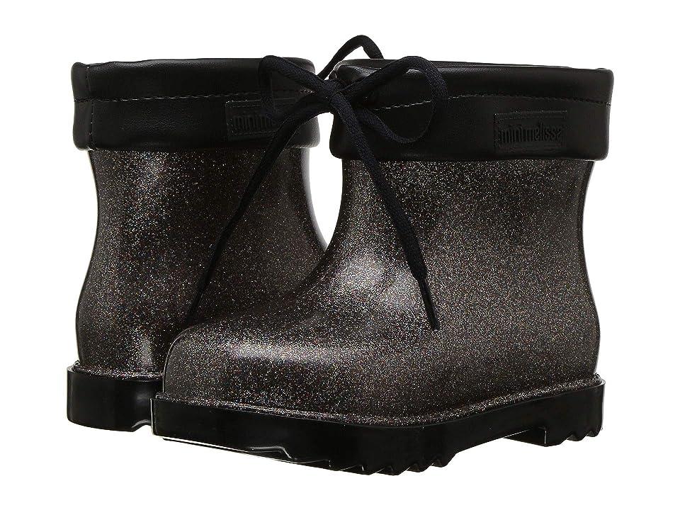 Mini Melissa Mini Rain Boot (Toddler/Little Kid) (Black Glitter) Girls Shoes