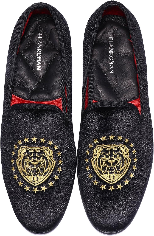 ELANROMAN Men's Vintage Velvet Loafer Men Tiger Embroidery Noble Men shoes Slip-on Loafer Smoking Slipper