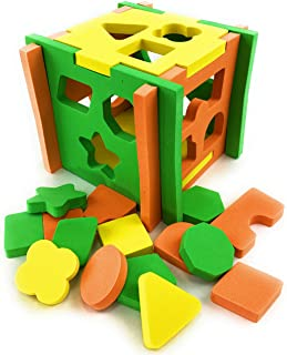 """Matty's Toy Stop EVA Foam Soft Shape Sorter 5.5"""" Cube for Babies & Toddlers (Bright Colors)"""