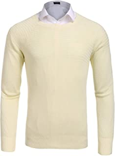 COOFANDY Men's Slim Fit Knitted Sweater Casual Crewneck Solid Pullover Sweaters