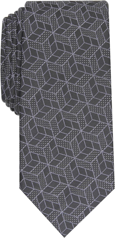 ALFANI Mens Black Geometric Polyester Slim Neck Tie