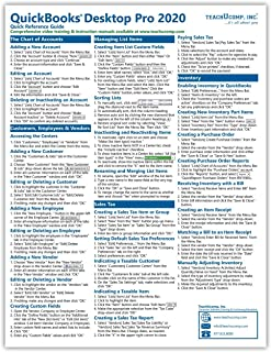 QuickBooks Desktop Pro 2020 Quick Reference Training Card - Laminated Tutorial Guide Cheat Sheet (Instructions and Tips)
