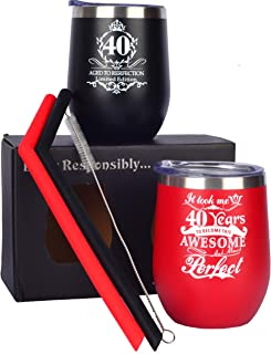 40th Birthday Gifts for Women Men, Wine Glass Tumbler Pack, Forty and Fantastic Wine Tumbler, 40 and Fabulous 2x12oz Stainless Steel Wine Glass Tumbler with Lid and Silicone Straw (red+black)