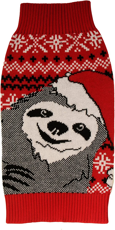Alex Stevens 100Percent Cotton Intarsia Slothy Christmas Doggie Apparel Mock Turtleneck Sweater, XSmall