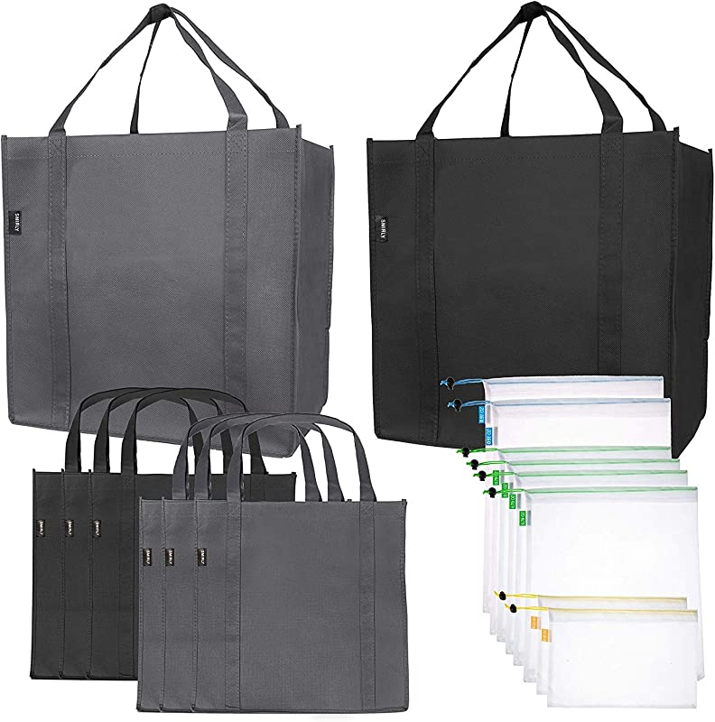 Reusable Folding Grocery And Produce Bags 6 Large Fabric Totes With Handles And Inner Pocket And 9 Eco Friendly Breathable Mesh Produce Bags Foldable Cloth Shopping Tote And Mesh Bag Set 15 Pack