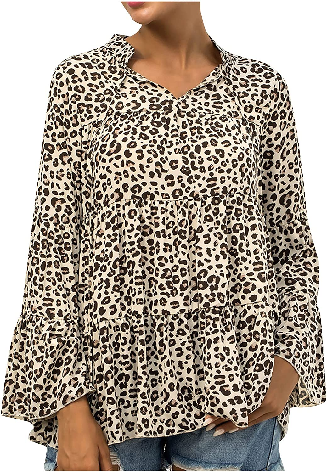 JUSTMYTOP Women's Leopard Print V-Neck Lace-up Blouse Flared Long Sleeve Loose Shirts Casual Comfortable Tunic Tops