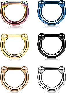 6PCS 16G 316L Stainless Steel D Shaped Septum Clicker Rings Nose Hoop Rings Daith Helix Tragus Lip Cartilage Earrings Body Piercing Jewelry Women Men Diameter 8MM 10MM