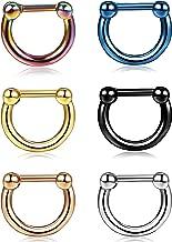 ORAZIO 6PCS 16G 316L Stainless Steel D Shaped Septum Clicker Rings Nose Hoop Rings Daith Helix Tragus Lip Cartilage Earrings Body Piercing Jewelry for Women Men Diameter 8MM 10MM