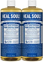 Dr. Bronner's - Pure-Castile Liquid Soap (Peppermint, 32 ounce, 2-Pack) - Made with Organic Oils, 18-in-1 Uses: Face, Body...