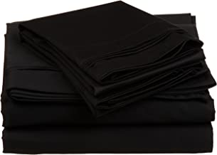 Impressions by Luxor Treasures 650XLSH SLBK 100% Egyptian Cotton 650 Thread Count, Twin XL 3-Piece Sheet Set, Deep Pocket, Single Ply, Solid, Black