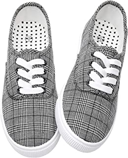 Women's Canvas Sneakers Fashion Lace Up Plaid Low Cut Shoes