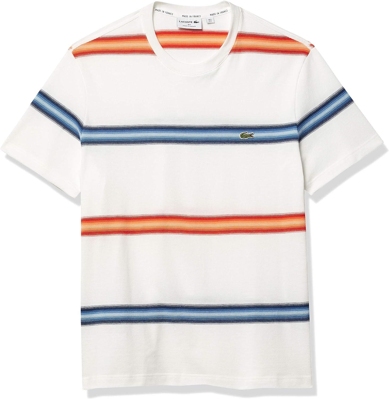 Lacoste Men's Rapid rise Short Sleeve Ombre Sale SALE% OFF Fit Regular Striped T-Shirt