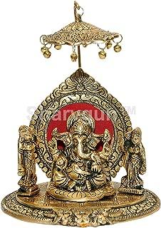 Sharvgun Riddhi Siddhi Chhatra Ganesh Showpiece Metal Statue