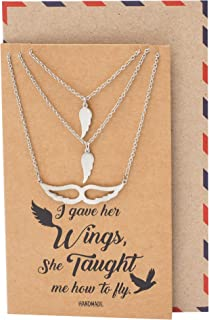 Quan Jewelry Angel Wing Necklace, Set of 3 Pendant Necklaces, Gifts for Mother Daughter Sister with Inspirational Quote Card - 100% Handmade