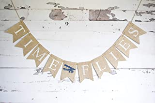 Time Flies Banner | Plane First Birthday Party Decorations